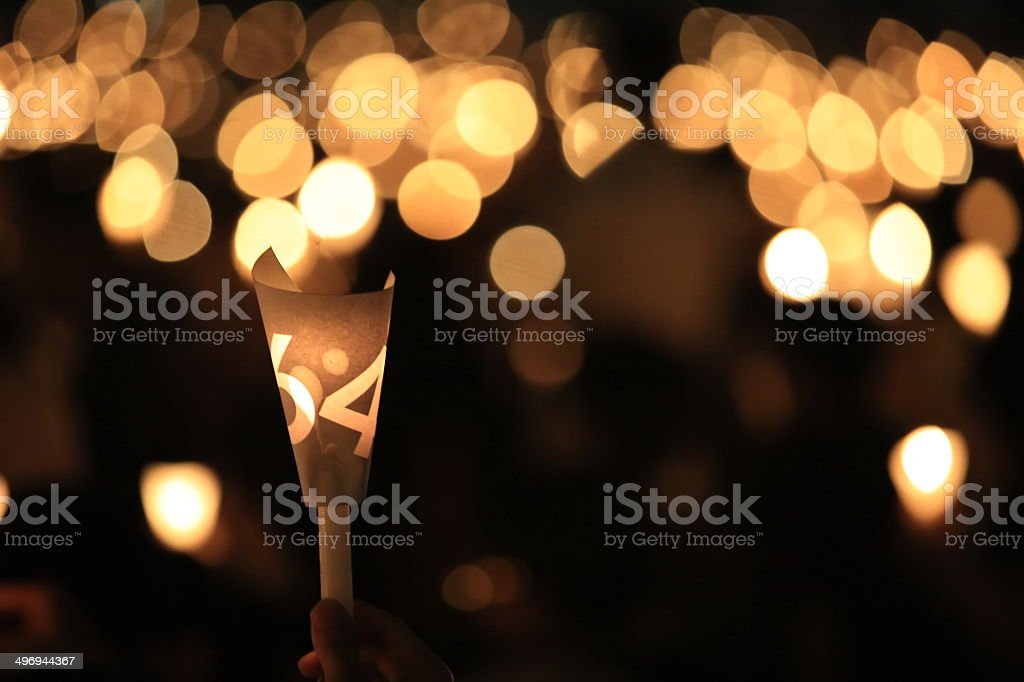 Tiananmen square 25th anniversary vigil candle light stock photo