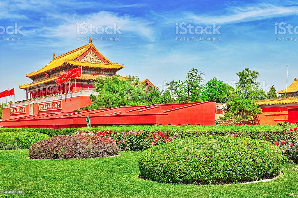Tiananmen Square and Gate of Heavenly Peace stock photo