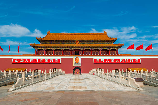 tiananmen square tiananmen square is an old building in Beijing. mao tse tung stock pictures, royalty-free photos & images
