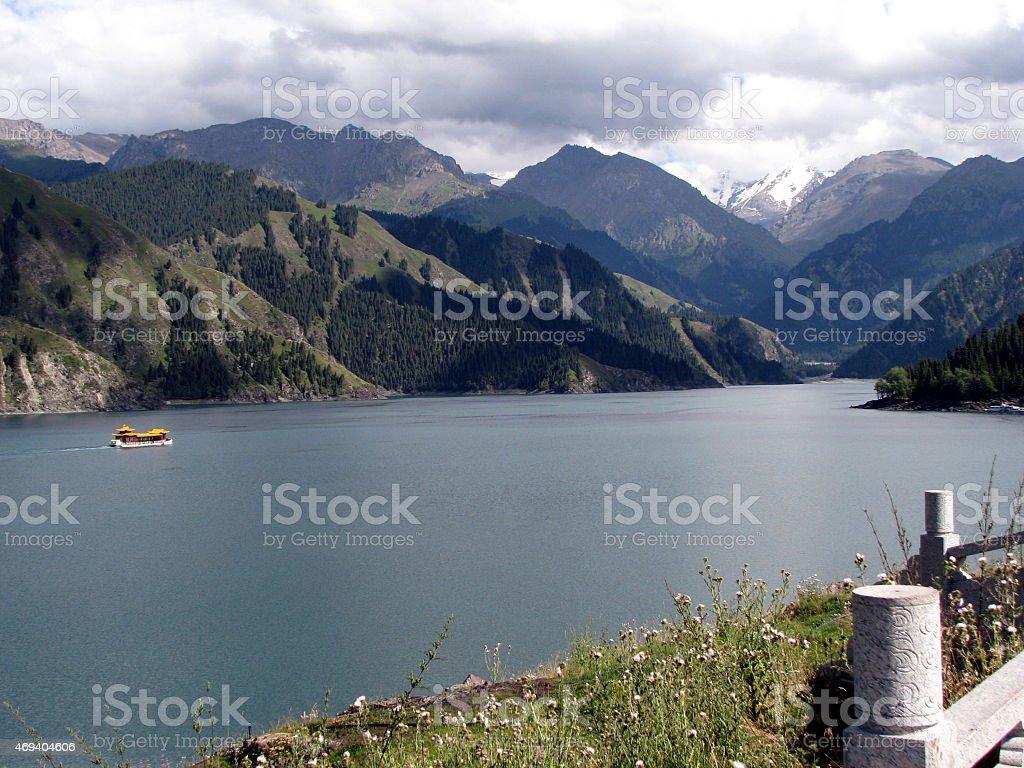 Tianchi Lake(Heaven's Lake) A beautiful lake in Tianshan mountains stock photo