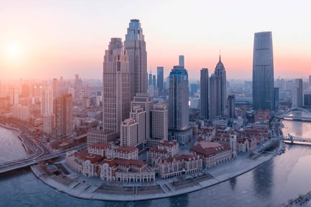 Tianjin Central Business District Gebäude Skyline, China Stadtbild – Foto