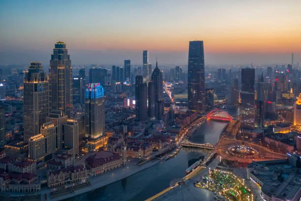 Tianjin Central Business District Gebäude Skyline bei Nacht, China Stadtbild – Foto