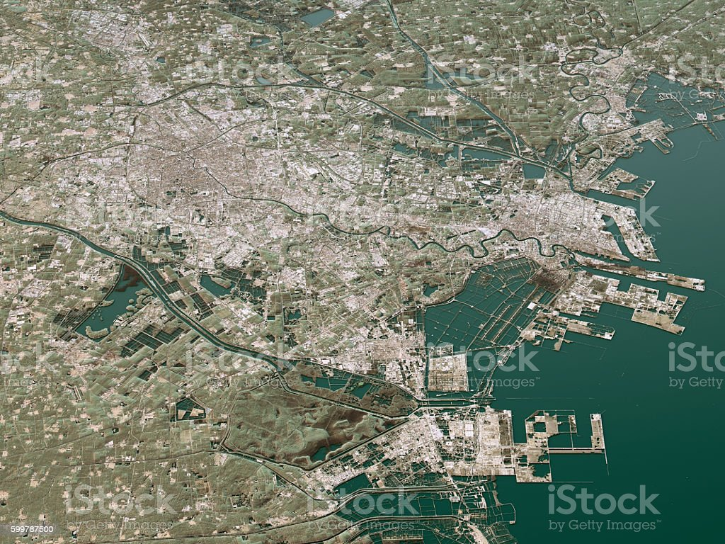 Tianjin Topographic Map 3d Landscape View Natural Color Stock Photo
