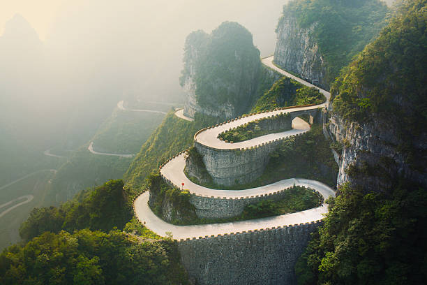 tianmenshan landscapes - vintage nature stock photos and pictures