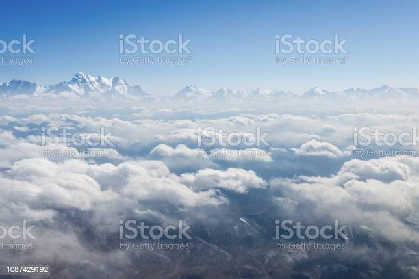 Photo of tianshan mountains scenery in air