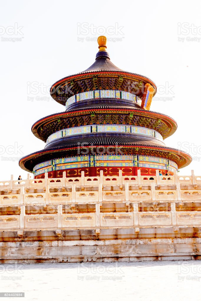 Tiantan Pagoda at the Hall of Prayer for Good Harvests of the  Temple of Heaven, an Imperial Sacrificial Altar in Beijing. UNESCO World Heritage stock photo
