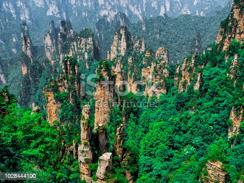 Tianzi Mountain column karst at Wulingyuan Scenic Area, Zhangjiajie National Forest Park, Hunan, China