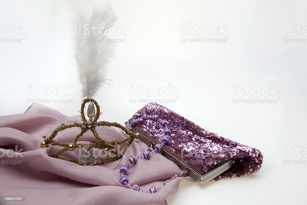 Tiara and handbag stock photo