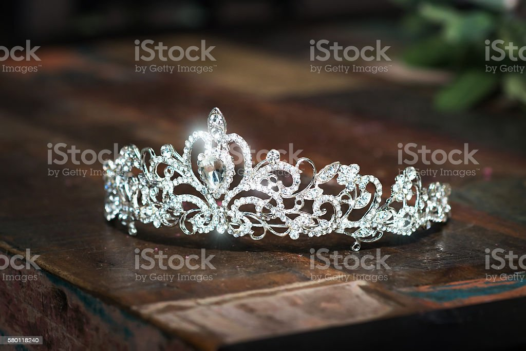 Tiara, diadem, wedding crown. Luxury precious accessories stock photo