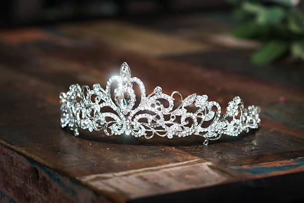tiara, diadem, wedding crown. luxury precious accessories - prinzessin tiara stock-fotos und bilder