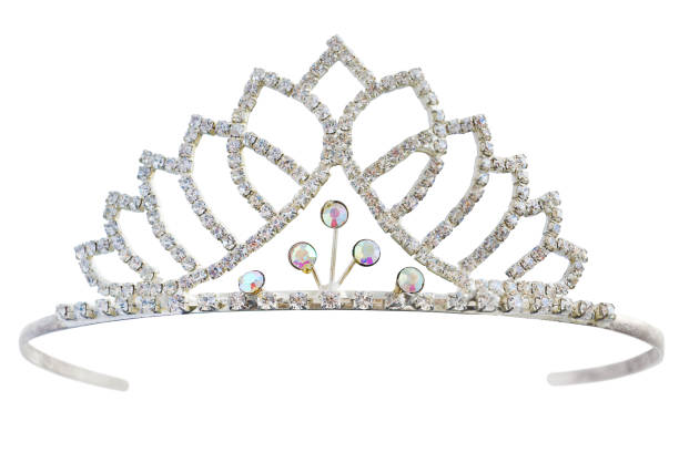 Tiara Isolated Tiara with white diamonds.  Crown for princess. Expensive jewelry. Decoration for queen, miss contest tiara isolated on white background. Full depth of field, with clipping path diademe stock pictures, royalty-free photos & images