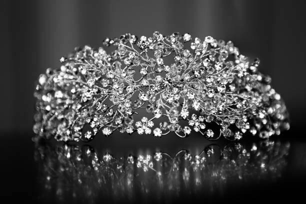tiara on black background - diadem stock pictures, royalty-free photos & images