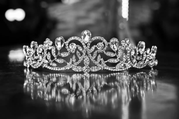 Tiara on Black Background Tiara, crown - headwear, queen - royal person, wedding crown, diamond - gemstone, diademe stock pictures, royalty-free photos & images