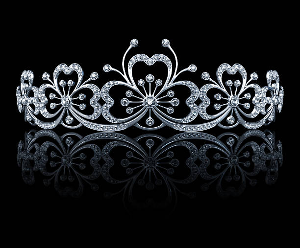 Tiara Concept design. Isolated on black with clipping path. 3D render. diademe stock pictures, royalty-free photos & images