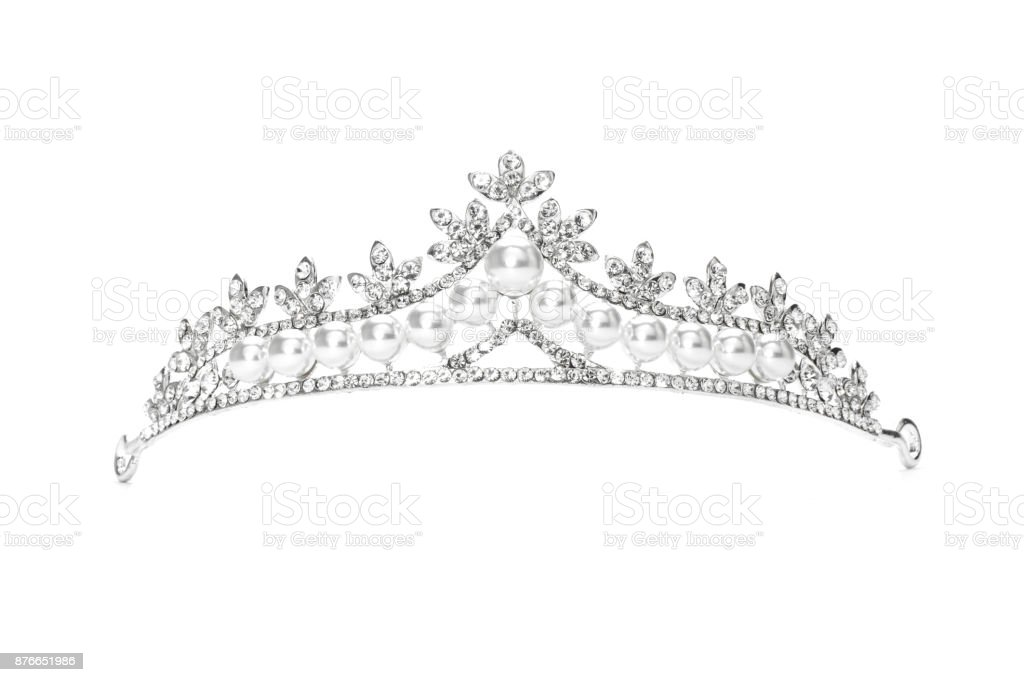 tiara with pearls isolated on a white background stock photo