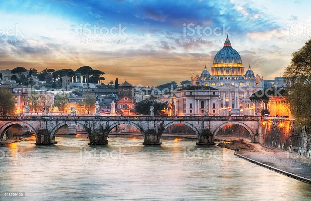 Tiber and St Peter Basilica in Vatican with rainbow, Rome stock photo