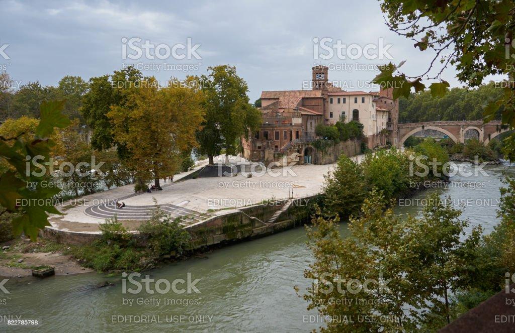 Tiber Island and Fabricio Bridge Rome stock photo