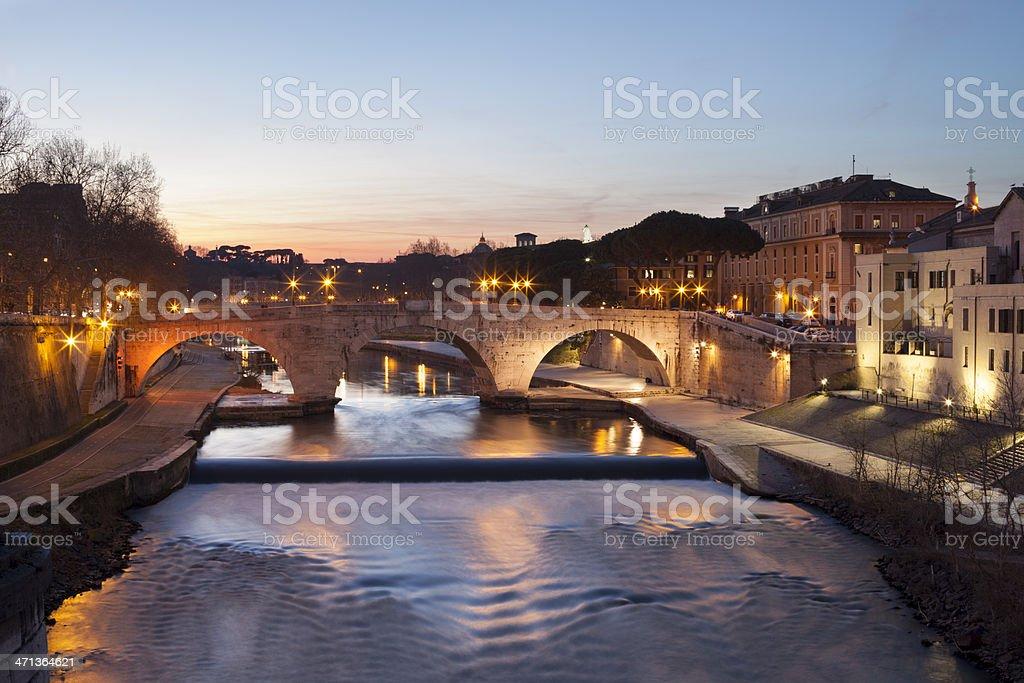 Tiber Island by night, Rome Italy stock photo