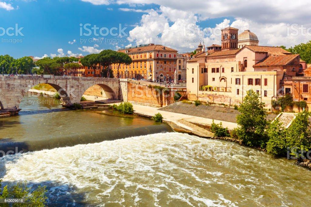 Tiber island in sunny day, Rome, Italy stock photo