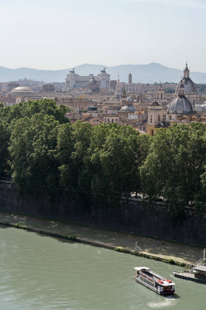 Tevere, Pantheon, Altare della Patria and domes stock photo
