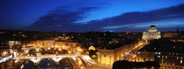 Tiber River and Vatican City at Night stock photo
