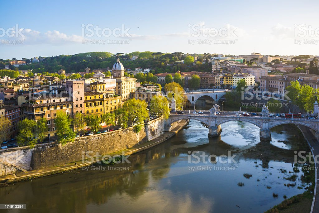 Tiber river in Rome, Italy royalty-free stock photo