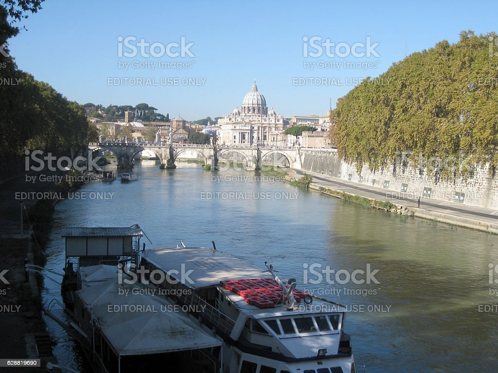 Tiber river view and the Vatican city in background. stock photo