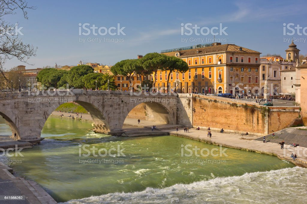 Tiber River with bridge Pons Cestius,  Rome, Italy stock photo