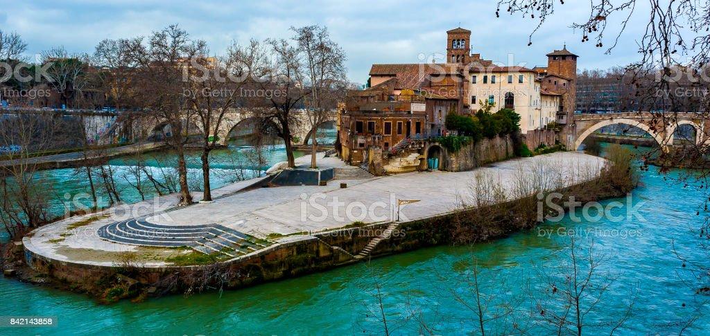 Tiberina Island on the Tiber River, Rome Italy stock photo