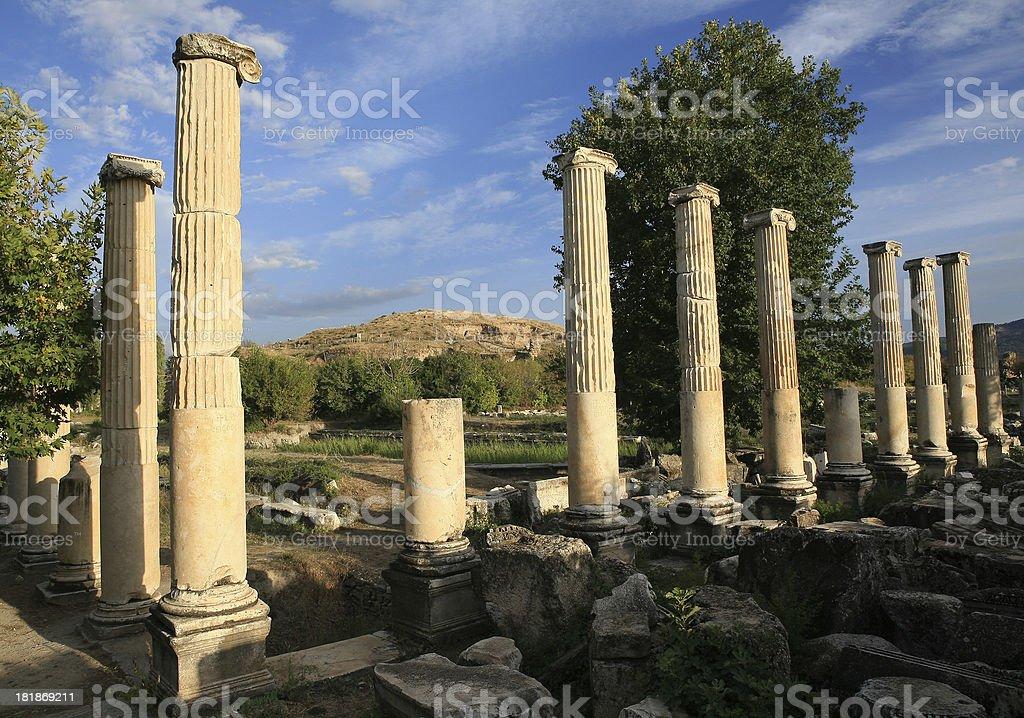 Tiberious-Portico and Agora Gate at Aphrodisias royalty-free stock photo