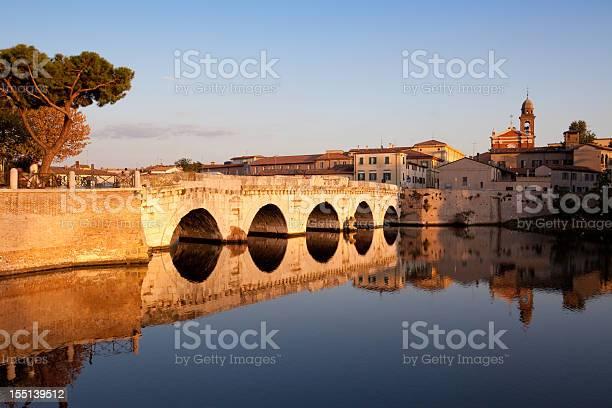Tiberius Bridge In Rimini Italy Stock Photo - Download Image Now