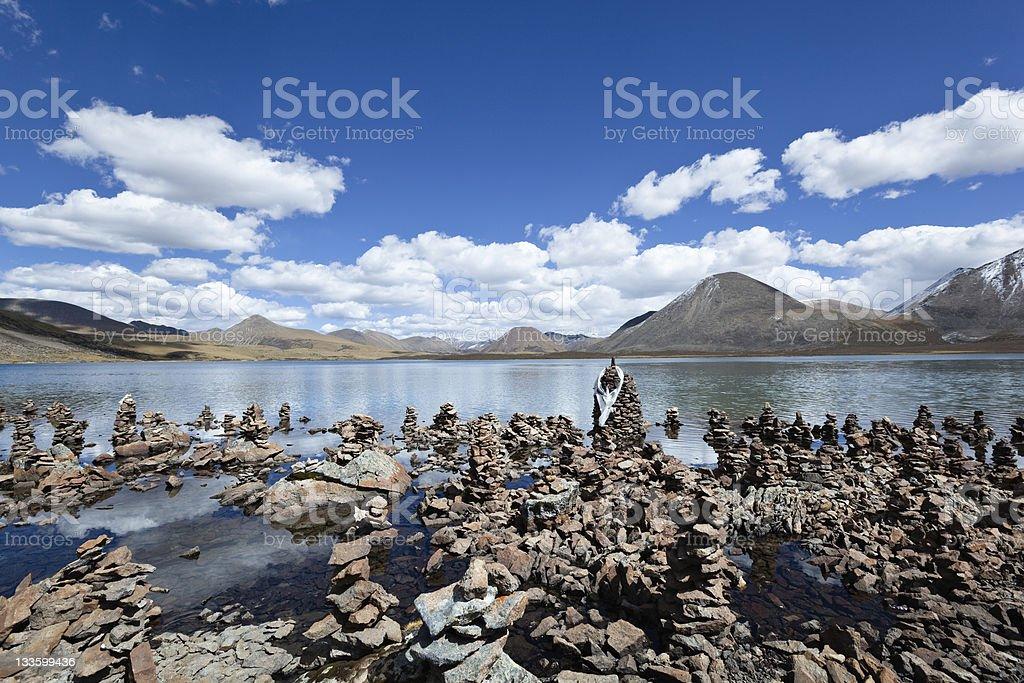 tibet: lake si jin la cuo royalty-free stock photo