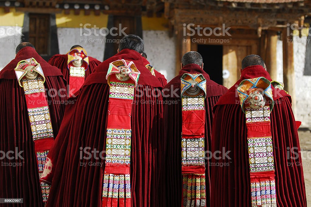 Tibet monks in ceremony royalty-free stock photo
