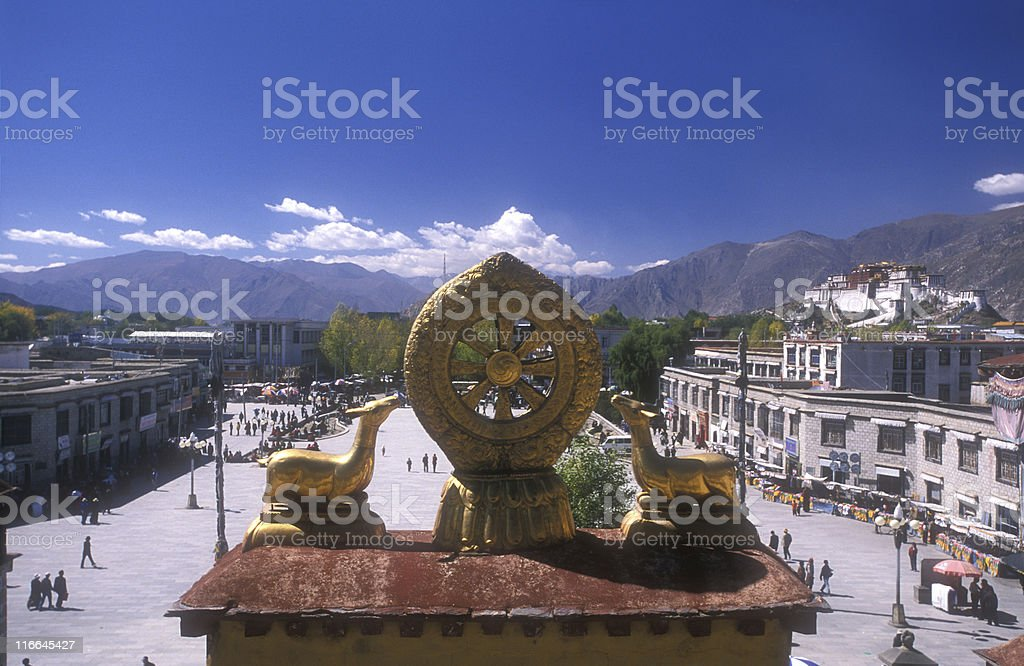 Tibet: View from Jokhang Temple into the city of Lhasa stock photo
