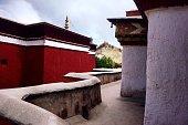 View of Gyantse Dzong from Palcho Monastery in Gyantse, Shigatse.