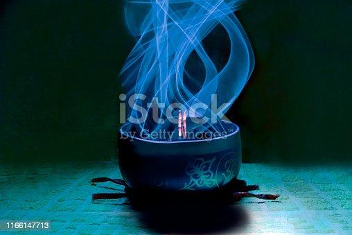 Tibetan bowl with artificial light effect
