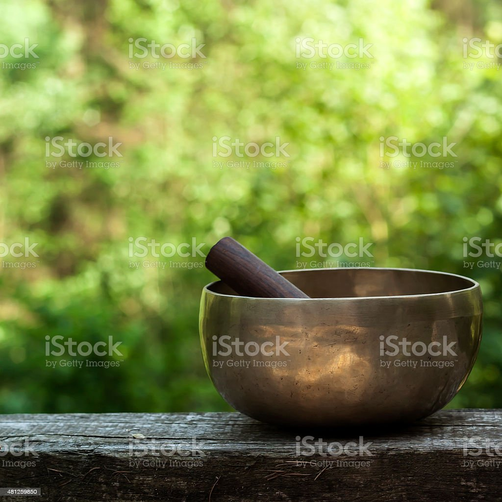 tibetan bowl made of seven metals stock photo