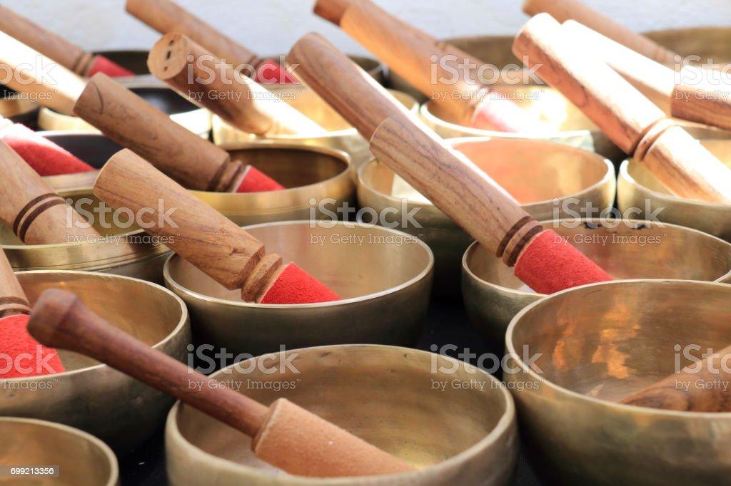 Tibetan bowls stock photo