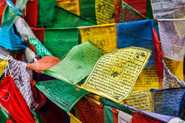 Tibetan Buddhism prayer flags lungta - foto de stock