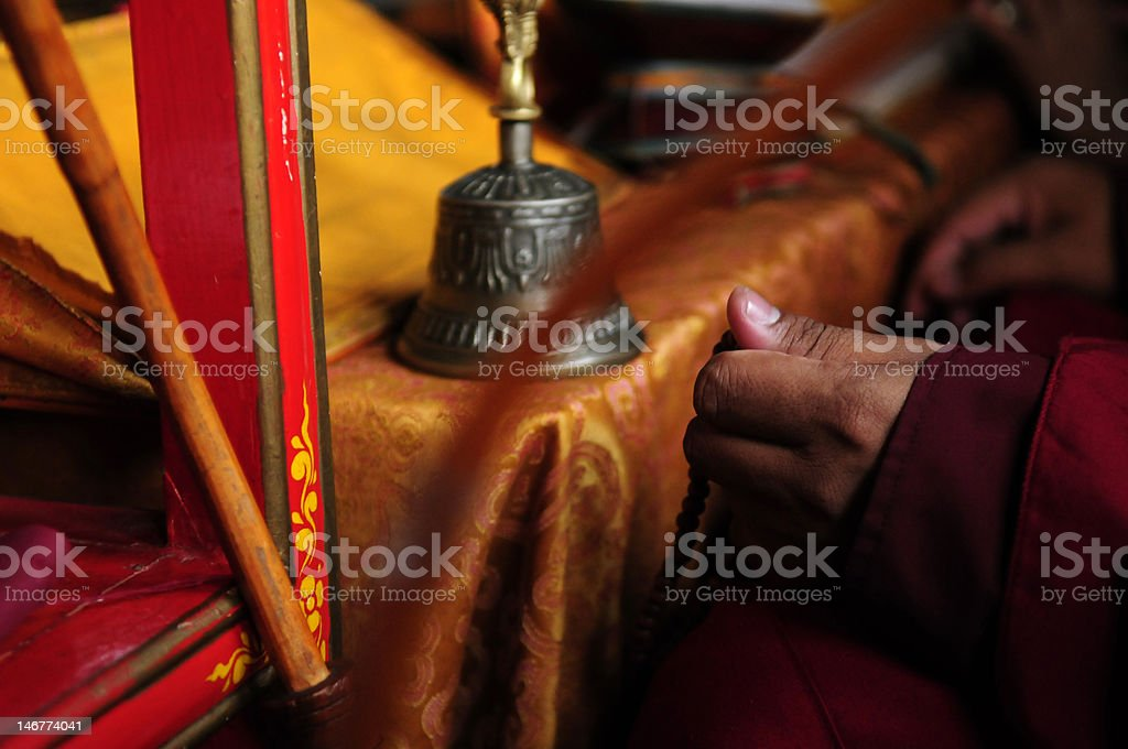 Tibetan Buddhist chanting stock photo