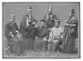 istock Tibetan Buddhist Lamas with Prayer Wheels' in Darjeeling, India - British Era 918674674