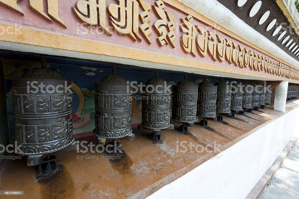 Tibetan Buddhist Prayer Wheels, Nepal royalty-free stock photo