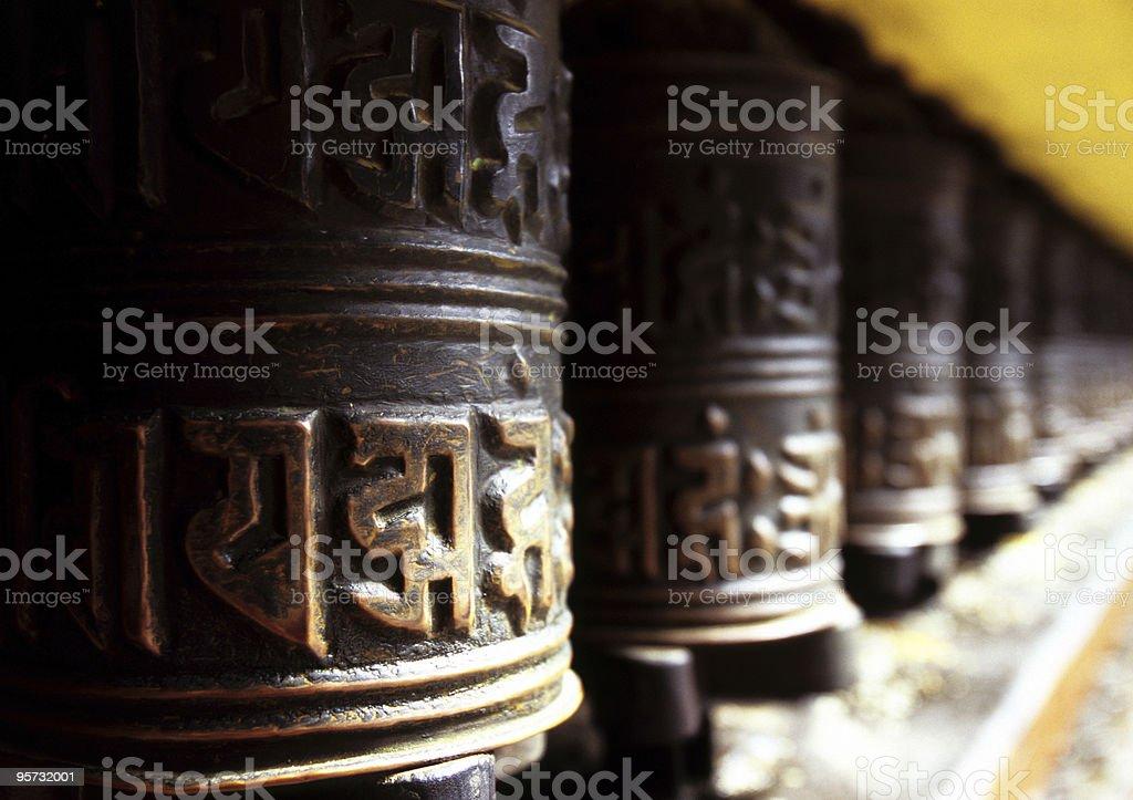 Tibetan Buddhist Prayer Wheels royalty-free stock photo