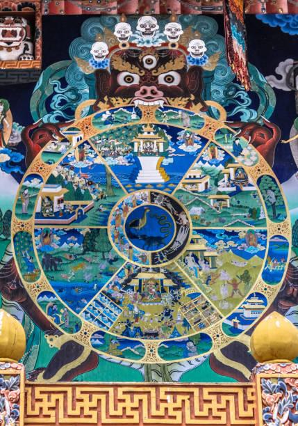 Tibetan Buddhist Wheel of Life mandala painted on wall in the Punakha Dzong stock photo
