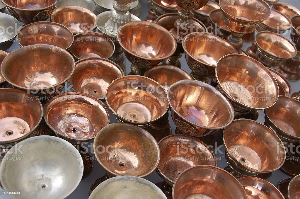 Tibetan copper pots royalty-free stock photo