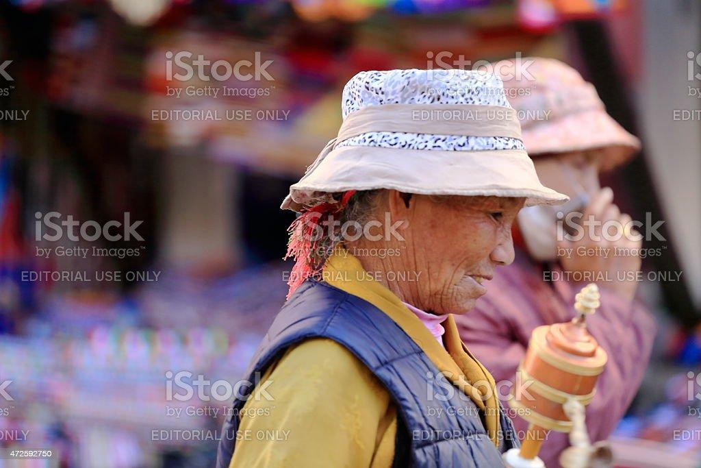 Tibetan devotees at the Kora-circumambulation. Lhasa-Tibet. 1336 stock photo