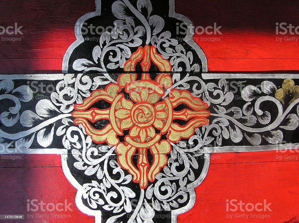 Tibetan door stock photo