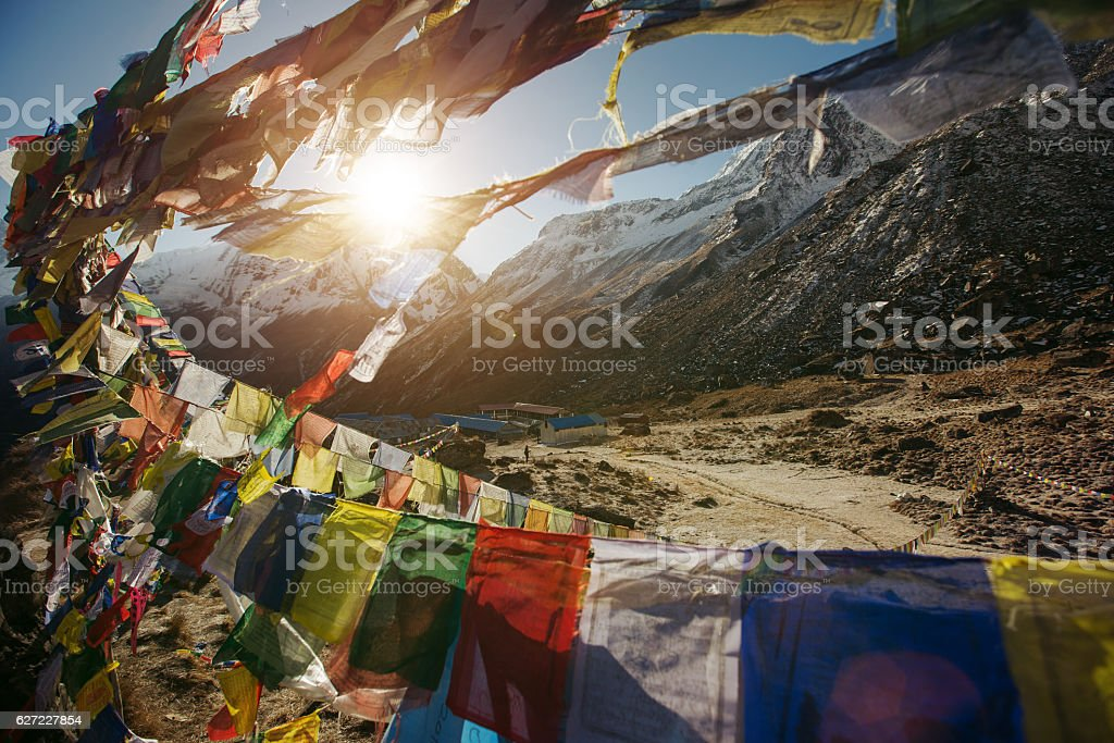 Tibetan Flags on Annapurna Base Camp in Nepal stock photo