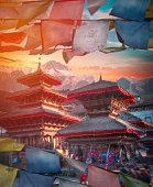 Tibetan flags. Ancient city in Kathmandu Valley. Nepal