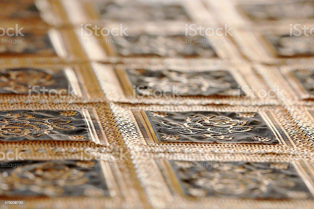 Tibetan golden tablecloth. Lhasa-Tibet. 1448 stock photo